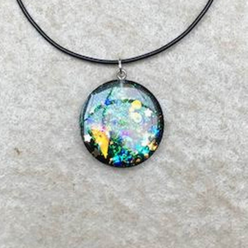Round Abstract Resin Pendant