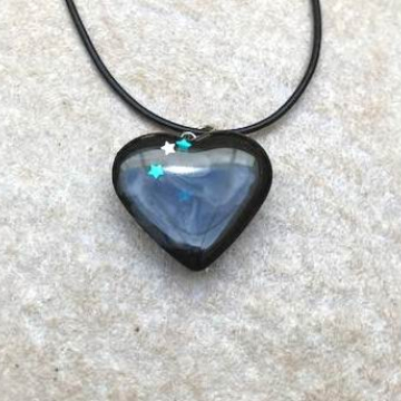 Black Resin Heart with Swirls and Stars