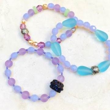 Sea Glass Set of Three Bracelets in Blue and Purple